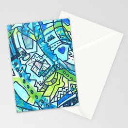 Spring time geometric abstract drawing Stationery Cards