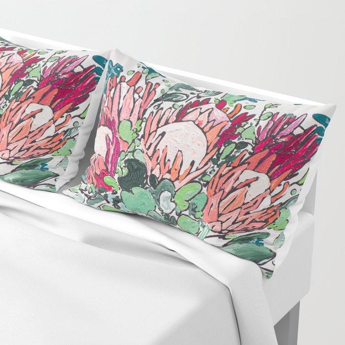 Bouquet of Proteas with Matisse Cutout Wallpaper Pillow Sham