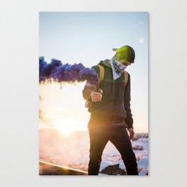 Man and smoke Canvas Print