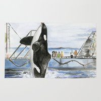 marine Area & Throw Rugs featuring Marine Star by Jeff Moser Watercolorist