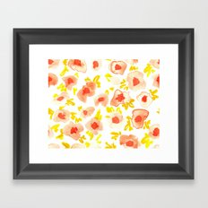 Peach and Lime Floral Framed Art Print