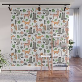 Woodland foxes rabbits deer owls forest animals cute pattern by andrea lauren Wall Mural
