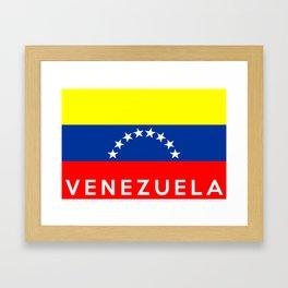 Venezuela country flag name text Framed Art Print
