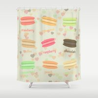 macaroons Shower Curtains featuring Love Macaroons by Imagology