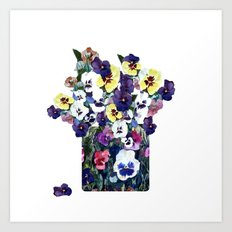 A pot of pansies Art Print