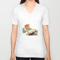 watercolour V-neck T-shirts featuring watercolour keyboard by withapencilinhand