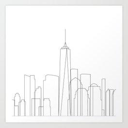 New York City Skyline Outline Art Print