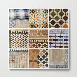 Mathematics and the Alhambra. Wall details. The Alhambra Palace. Six Metal Print