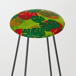 monstera green red Counter Stool
