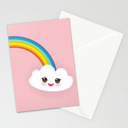 Kawaii funny white clouds, muzzle with pink cheeks and winking eyes, rainbow on light pink Stationery Cards