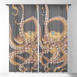 Brown Octopus Blue Eye Black Watercolor Sheer Curtain
