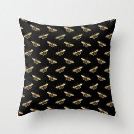 gold butterflies pattern Throw Pillow