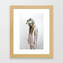 Girl with wolf Framed Art Print