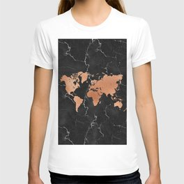 World Map - Rose Gold on Black Marble T-shirt