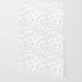 Modern white abstract geometric brushstrokes light grey Wallpaper