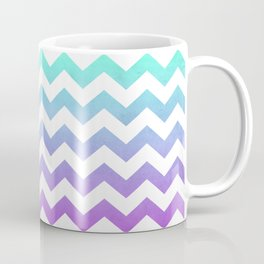 Purple Mint Aqua Ombre Chevron Pattern Coffee Mug