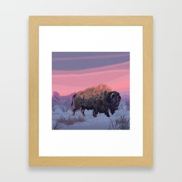 Buffalo Winter Painting Framed Art Print