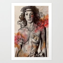 Colony Collapse Disorder (topless warrior woman with leaves on nude breasts) Art Print