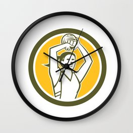 Netball Player Shooting Ball Circle Retro Wall Clock