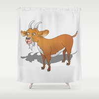 goat Shower Curtains featuring Goat by mailboxdisco