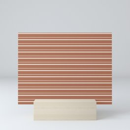 Sherwin Williams Creamy Off White SW7012 Horizontal Line Patterns 3 on Cavern Clay Warm Terra Cotta Mini Art Print