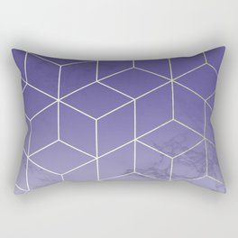 Geometric Marble Ultraviolet Purple Gold Rectangular Pillow