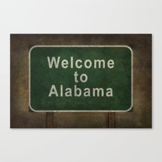 Alabama roadside sign illustration, with distressed ominous background Canvas Print