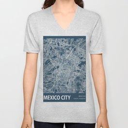 Mexico City Blueprint Street Map, Mexico City Colour Map Prints Unisex V-Neck