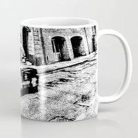 dark side Mugs featuring Dark side London Art by David Pyatt