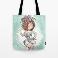 burlesque Tote Bags featuring Burlesque by Laeti Vanille
