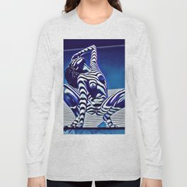 9124s-KMA Powerful Nude Woman Open and Free Striped in Blue Long Sleeve T-shirt