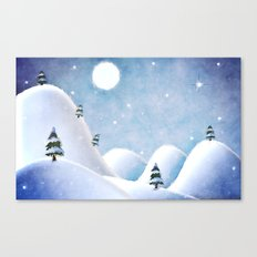 Winter Landscape Under Full Moon Canvas Print