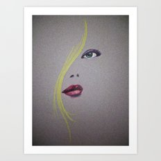 Blond Nose Eyes Lips Art Print