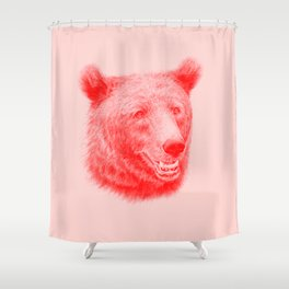 Brown bear is red and pink Shower Curtain