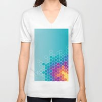 honeycomb V-neck T-shirts featuring Honeycomb by AleyshaKate