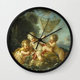 Francois Boucher - Putti As Fisherman Wall Clock