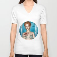 fairytale V-neck T-shirts featuring Fairytale Mermaid by Design Windmill