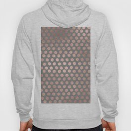 Simple Hand Painted Rosegold polkadots on grey background Hoody