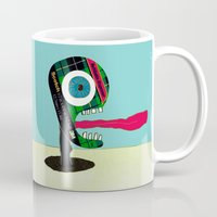 tape Mugs featuring Screaming Tape Head by Take Five