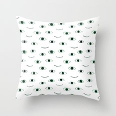 Green eyes || watercolor Throw Pillow