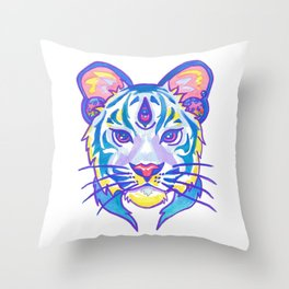 clairvoyant pastel tiger Throw Pillow