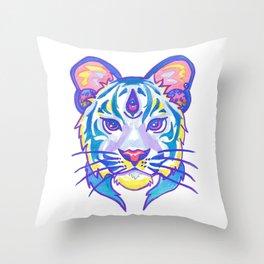 clairvoyant pastel tiger Throw Pillow