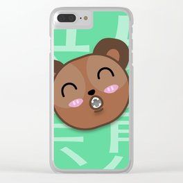 Happy Brown Bear Clear iPhone Case
