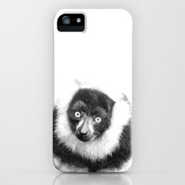 Black and white lemur animal portrait iPhone Case
