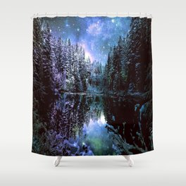 A Cold Winters Night : Violet Teal Green Winter Wonderland Shower Curtain