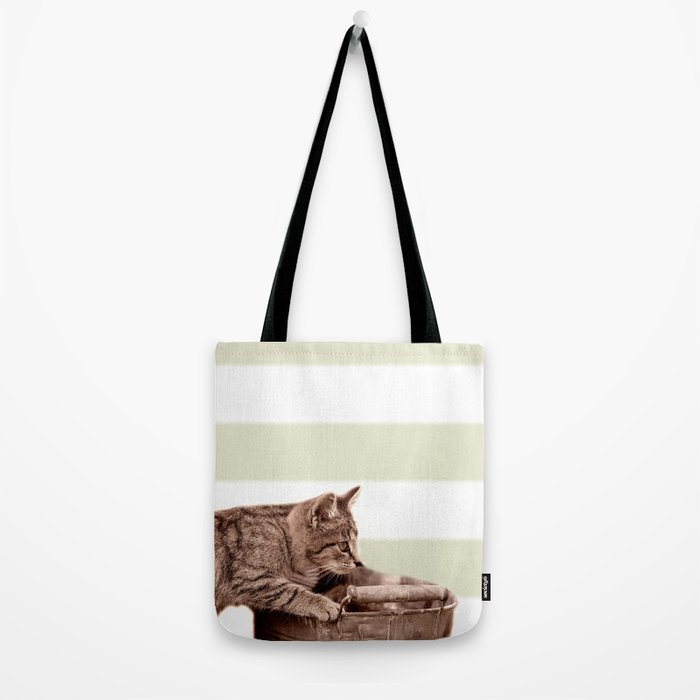 Cat Play on stripes Tote Bag