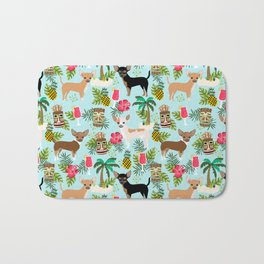 Chihuahua Tiki design - Summer tropical dog design Bath Mat