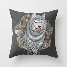 Husky in Winter Throw Pillow