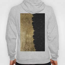 Faux Gold & Black Starry Night Brushstrokes Hoody