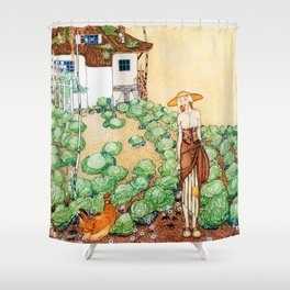12,000pixel-500dpi -Kay Nielsen - Felicia, A Farmer Whose Chicken Is Told That Her Mother Is A Queen Shower Curtain